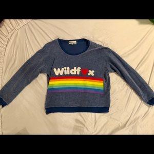 Wild fox soft fuzzy rainbow sweater